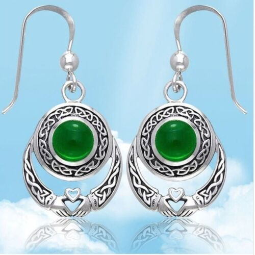 Alloy Celtic Claddagh earrings with Celtic knots and green stone