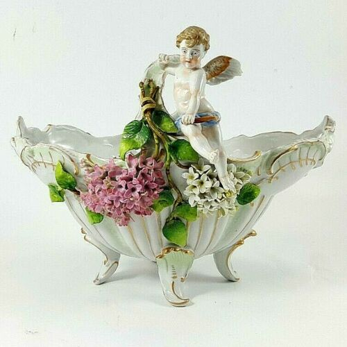 ANTIQUE 1865-77 SCHIERHOLZ PORCELAIN HANDLED FOOTED FLORAL BOWL hand painted