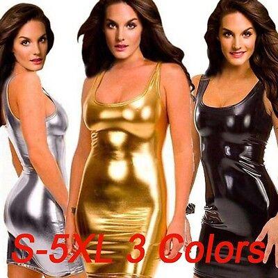 PLUS SIZE Women Sexy Wetlook Vinyl PVC Mini Dress Clubwear Bodycon Dress S--5XL - Plus Size Women Clubwear