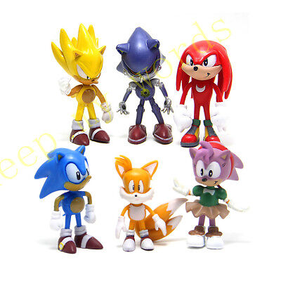 6 Pcs Sonic Classic The Hedgehog PVC Figure Cake Topper Kids Toy Gift Doll New (Sonic Cake)