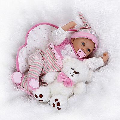 "Reborn Baby Doll 22"" Handmade Newborn Lifelike Girl Dolls Vinyl Silicone Gift"