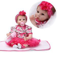 "22"" Handmade Lifelike Baby Girl Doll Silicone Vinyl Reborn Newborn Dolls Gift"