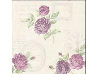 BHF 2532‑20451 Venetia Vintage Rose Toss Wallpaper- 4 rolls available