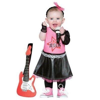 Rockstar Girls Halloween Costume 12 - 24 mo Dress Up Headband Guitar Microphone - Toddlers Halloween Music