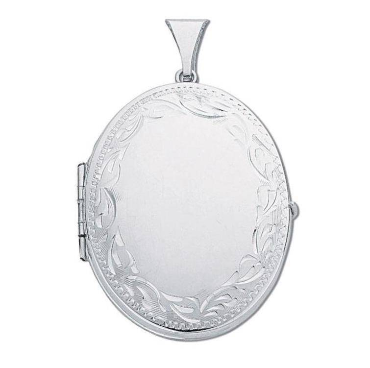 Sterling Silver Large Oval Shaped 4 Photo Family Locket 35X30mm