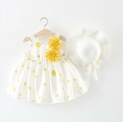 Dot Flowers (USA Flower Girl Princess Summer Dress Newborn Baby Party Cotton Dot Tutu)