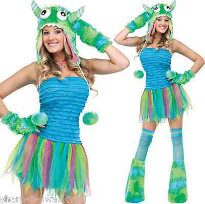 Ladies Sexy 4 Piece Green Blue Halloween Monster - Sexy Rave Outfits