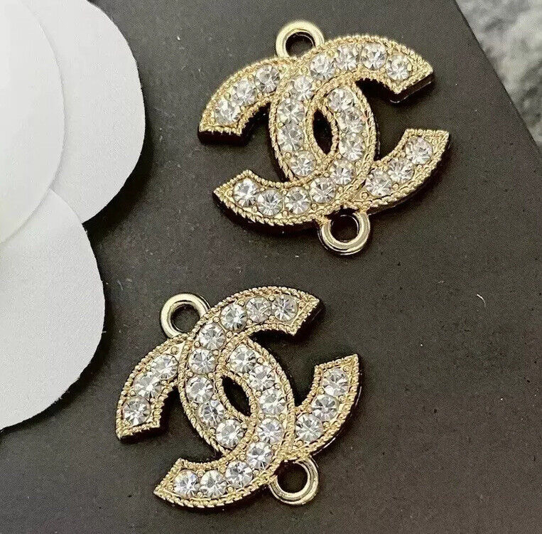 Set Of 2 Stamped CHANEL Rhinestone Gold Metal Connector 22mm