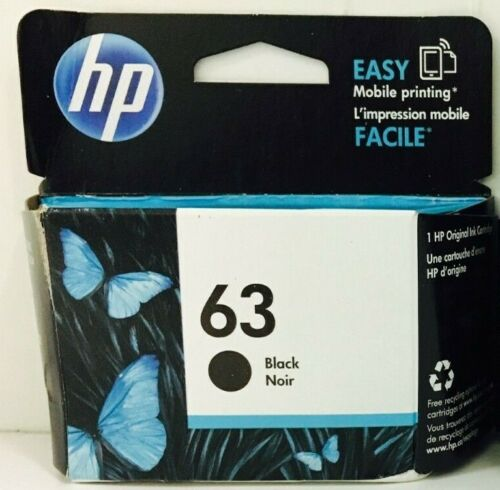 New Genuine HP 63 Black Ink Cartridge Deskjet 2130 3631 Officejet 3830 3834 5258