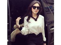 Chiffon white shirt with black cross neck