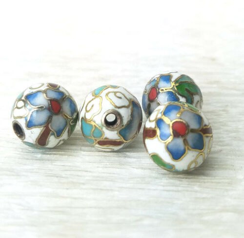 Vintage White w/ Blue Flowers Cloisonne Chinese Enamel Round 10mm  4PCs