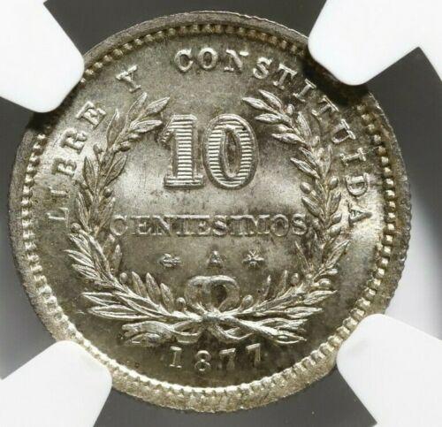 Uruguay, 10 centesimo, 1877-A, anchor points left, NGC MS 64+. KM-14.