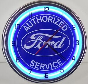 Ford-Authorized-Service-15-Neon-Clock-Sign-Parts-Garage-Emblem-F150-f250-T-BL