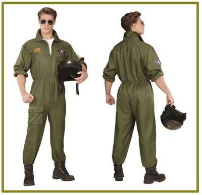 PILOT Kampfjet Deluxe Top Gun Partner Kostüm Pilot Jet Karneval Fasching , K (Männlich Pilot Kostüme)