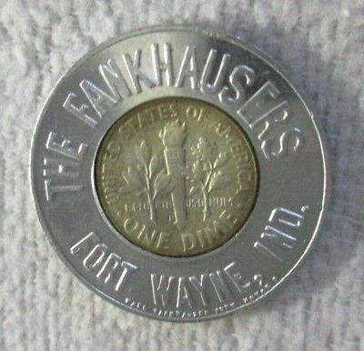 FORT WAYNE IND INDIANA THE FRANKHAUSER 'S ~ 1964 D DIME ENCASED GOOD LUCK COIN