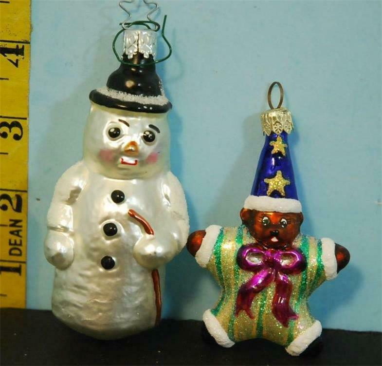 Two Christopher Radko Glass Christmas Ornaments Snowman & Star Bear