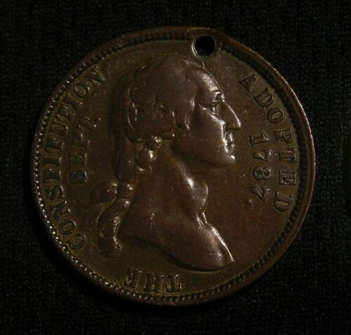 1887 GEORGE WASHINGTON CENTENNIAL OF THE CONSTITUTION MEDAL TOKEN - LIBERTY BELL