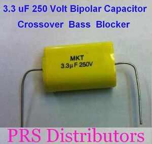 3.3 uF 250 Volt BIPOLAR CAPACITOR BASS BLOCKER SPEAKER TWEETER CROSSOVER 1 Piece