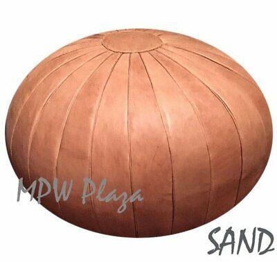 MPW Plaza Pouf, Deco, Sand, Moroccan Leather Ottoman (Un-Stuffed)