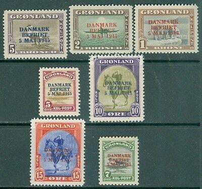 GREENLAND : 1945. Scott #20/27. 7 values from set. Fresh & Very Fine, Mint NH