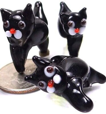 Lampwork Handmade Glass Black Cat Halloween Beads (5)](Lampwork Beads Halloween)