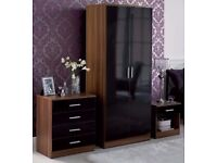**14-DAY MONEY BACK GUARANTEE!* Quality Marconie High Gloss Wardrobe Set - SAME DAY DELIVERY!