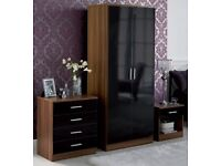 3 piece Bedroom set 2 door wardrobe/ chest / bedside table Walnut/Black gloss
