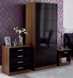 **14-DAY MONEY BACK GUARANTEE!* Marconie High Gloss Wardrobe Set in Black White- SAME DAY DELIVERY!