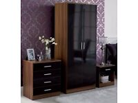 **7-DAY MONEY BACK GUARANTEE!* Marconie High Gloss Wardrobe Set in Black White- SAME DAY DELIVERY!