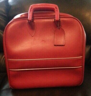 VIntage Red Vinyl Bowling Ball Bag- Plastic Insert Shoe Storage & 1 Ball