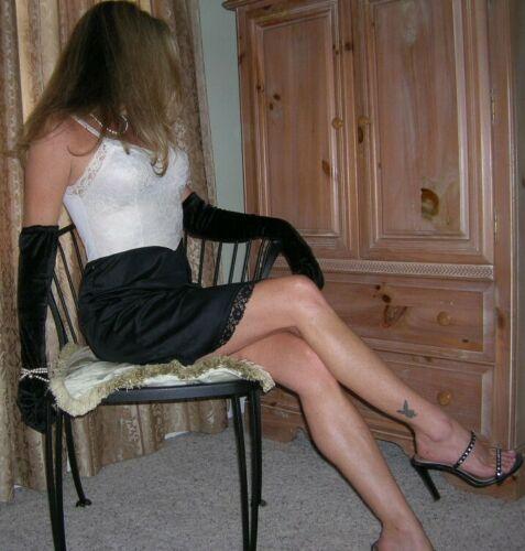 S Black White Tuxedo Full Slip Van Raalte & B/W Polka Dot Chiffon Scarf