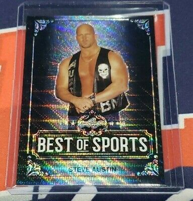 2019 Leaf Best of Sports WWF WWE Steve Austin Black Wave Refractor 3/7