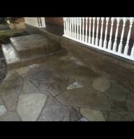 Decorative stamped concrete, floor replacement, concrete work