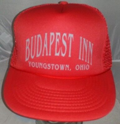 Budapest Inn Youngstown Ohio Red Trucker Hat Cap  Vacation Asvertising A2