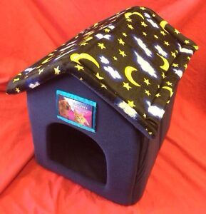 Dog rabbit cat bed house soft cosy folds flat with velcrow for Dog bed roof