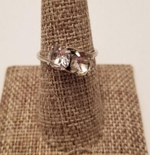 Cubic Zirconia Round Cut Vintage Silver Tone Ring Size 8 Wrap Design 2 Stone