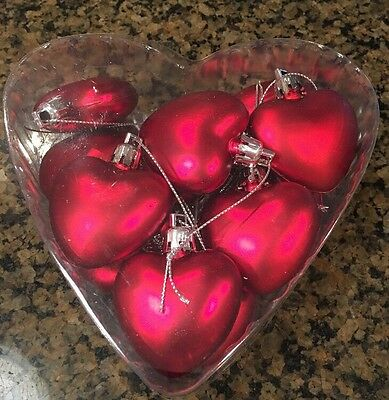 Lot of 12 Red Matte Puff Heart shaped Holiday Valentine's Day ornaments NIB