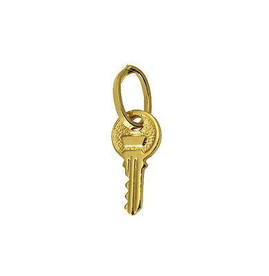 14K Solid Real Yellow Gold Small Tiny Key To My Heart Love Charm Pendant