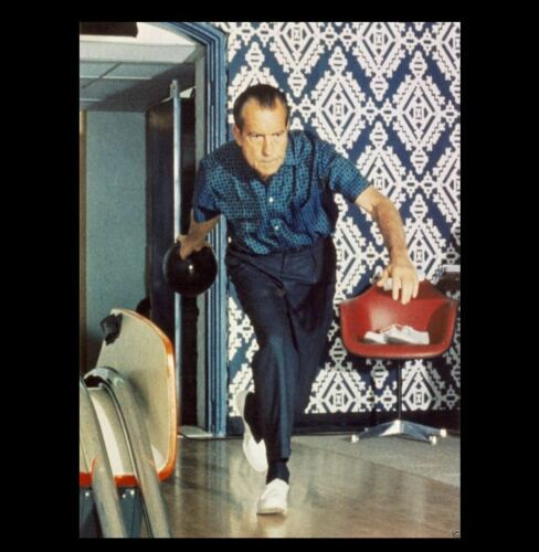 Rare Richard Nixon Bowling PHOTO White House Lanes Republican President Ball