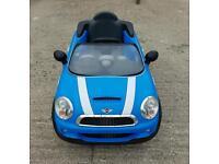 Blue battery powered Mini Cooper S 6v