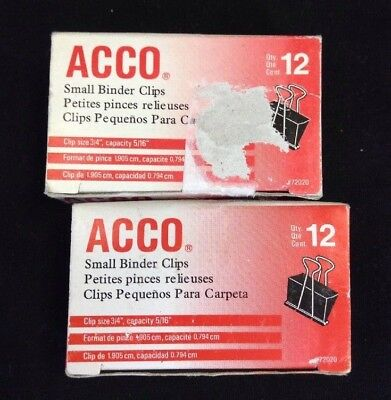 Lot Of 2 Acco Binder Clips Small Black 12box - Total 24 - Free Shipping
