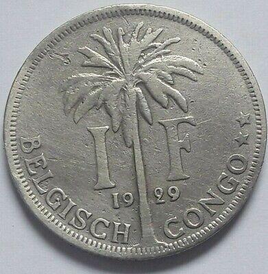 1 Franc 1 Frank Belgisch Congo belge Albert I 1929