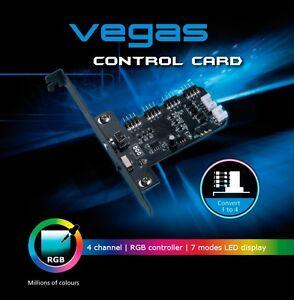 Akasa AK-RLD-02 Vegas RGB Fan Controller, Control Card, 4 Channel, Dual Mode