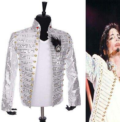 Michael Jackson Clothing Style (History MJ Michael Jackson White Sequin England Style Party Gentlemen Jacket)