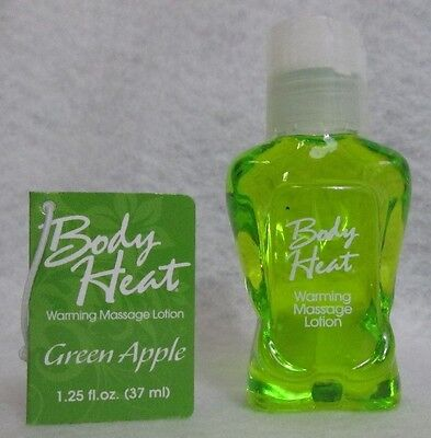 Body Heat Edible Warming Massage Lotion Green Apple 1oz Relax Personal Oil Gift