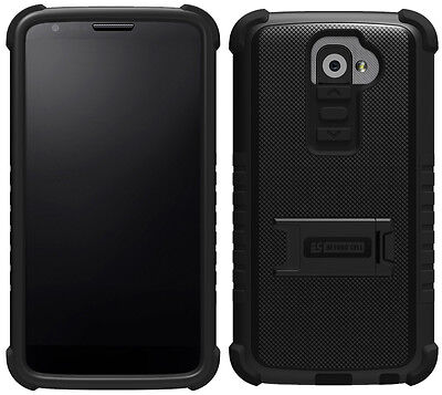Black Tri Shield Soft Skin Hard Case Stand Screen Protector For Lg G2 Phone