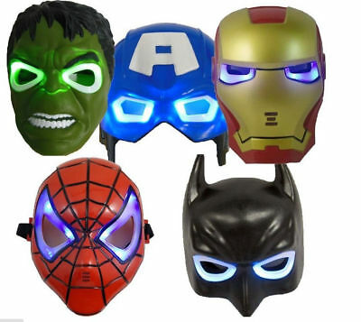 Marvel Hero Avengers LED LIGHT UP MASK HULK SPIDERMAN IRONMAN BATMAN C.AMERICA