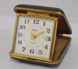Vintage Collectible Traveling Rhythm Alarm Clock Quartz 80s in Case Retro Art