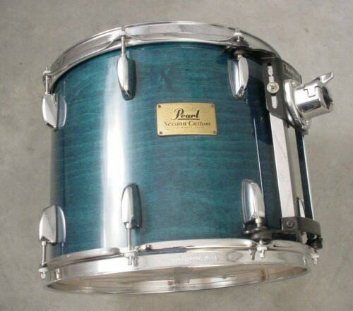 "PEARL SESSION CUSTOM 14"" BLUE STAIN LACQUER MOUNTED TOM DRUM"