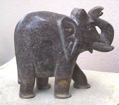 DARK PINKISH STONE ELEPHANT TRUNK UP